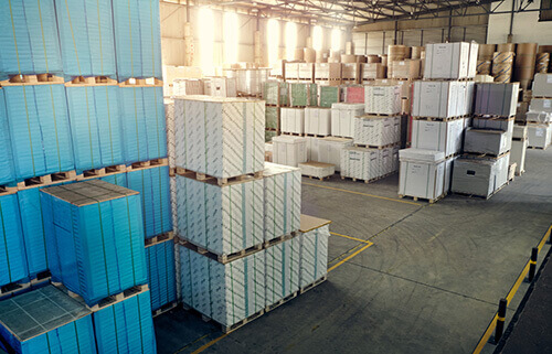 Container Boards in Warehouse
